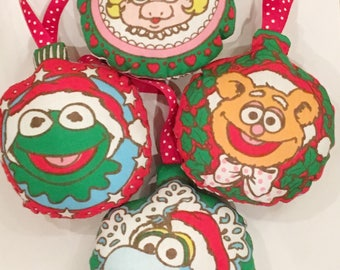Muppet Baby Christmas Ornaments from Vintage Fabric/Muppets/ Holiday decor