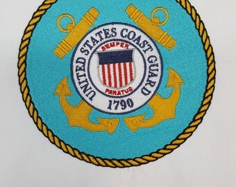 Embroidered United States Coast Guard 6 inch  Quiltblock Military Patch
