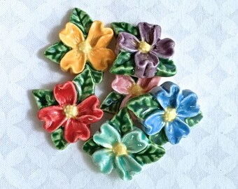 6 Multicolored Flowers - Ceramic Tiles - Mosaic Supply