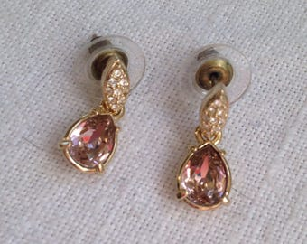 Swarovski Pink Crystal Dangle Earrings