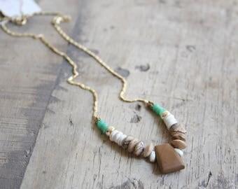 Gemstone and gold necklace, Jasper necklace, Tribal necklace, Boho beaded necklace, Boho gemstone necklace, Summer gemstone necklace