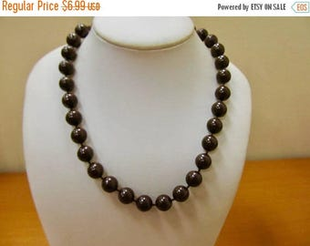 ON SALE Vintage Brown Plastic Beaded Necklace Item K # 442