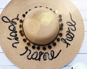 Custom Sun Hat- Sun hat-Bridesmaid gift- Boho Hat- Personalized- Bachelorette Party Hat-Christmas-Gift-For-Women-Bride gift-Custom Gift