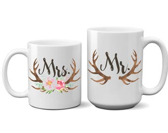 Rustic SET of 2 Mr. and Mrs. Coffee Mug Couple Gift Wedding Day Anniversary Bridal Shower His and Hers Husband Wife Mug Tea Cup 15 Ounce