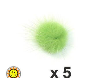 x 5 30mm Green fur tassels