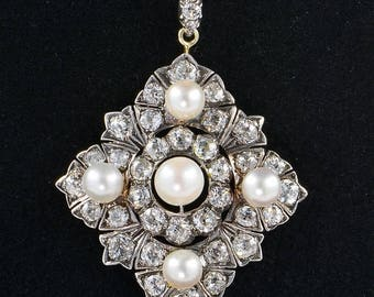Spectacular 6.80 Ct diamond natural pearl Victorian pendant