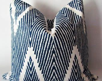 "Blue Pillow.  Ikat Pillows. Blue Ikat Pillow .Lumbar Pillow. Modern Pillow Cover.12 x16"" or  12 x 17"" or 12"" X 18"""