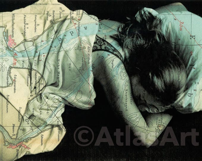5 Postcards 'Astrid, sleeping', Set of 5,  home decor, collage, woman, art, photography