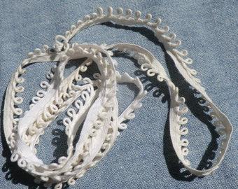 white vintage cotton loop trim, cotton braid trim, wedding, christening, home decor, French trim