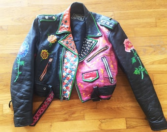 Hand Painted Floral Leather Jacket