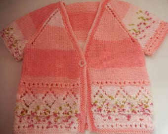 hand knitted baby girls cardigan / hand knit girls sweater / pink and white sweater /  6-9 month cardigan