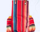 Red Serape Baby Romper, Mexican Blanket