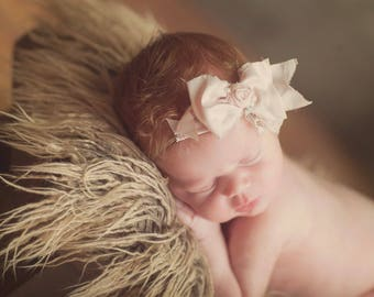Pink, Ivory or White Newborn band Vintage Baby Pink and White Bow Hand Rolled ose headband Crystals