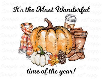 Fall Most Wonderful Time of the Year Heat Press Transfer DIY Iron on Transfer