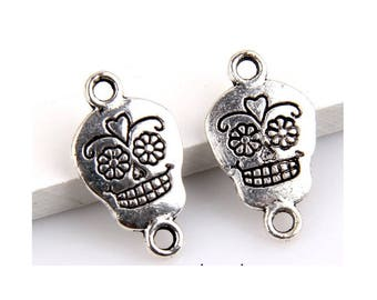 8 Sugar Skull Connector Charms Halloween Jewelry Small Bracelet Supplies 20x11mm