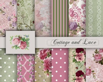 SALE Digital Floral Papers, Digital Background, Scrapbook Paper, Premade Papers, Printable Paper Pack, Shabby Chic P 56 LF
