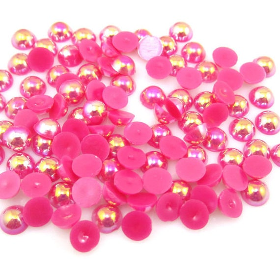 MajorCrafts® Dark Pink AB Flat Back Half Round Resin Pearls C10