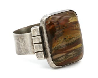 Silver And Jasper Mens Ring, 925 Sterling Large Ring, Brown Stone Ring, Statement Ring, 60s Mens Jewelry, Minimalist Modern, Ring Size 11.75