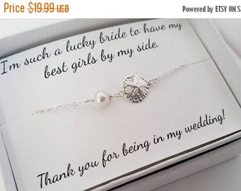 ON-SALE Sand Dollar and Pearl Sterling Silver Bracelet, Bridesmaids Gifts, Flower Girl, Jr. Bridesmaids