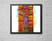 totem pole art print / an...