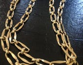 Signed Napier Vintage 60 Inch Long Gold Plated Link Chain/ Necklace