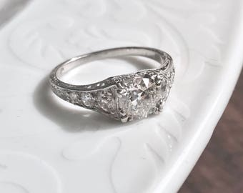 antique art deco era 1920s platinum diamond engagement ring spectacular - Vintage Wedding Rings 1920