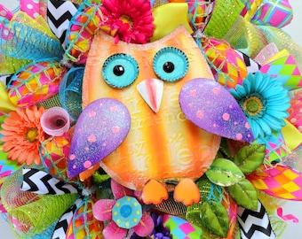 ONE AVAILABLE Large! Summer Owl Wreath - Deco Mesh Wreath -Spring Wreath - Summer Deco Mesh - Owl Wreath - Owl Decor
