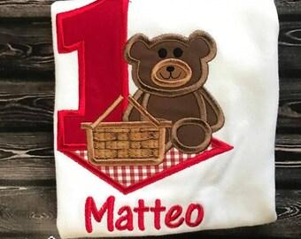 Teddy Bear Picnic Shirt, Teddy Bear Picinice, Teddy Bear Birthday, Bear Birthday, First Birthday Shirt, Birthday Shirt, Boy First Birthday