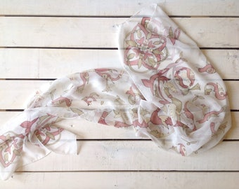 Pastel colors hand painted silk scarf . Armenian medieval bird alphabet.Ready to ship.