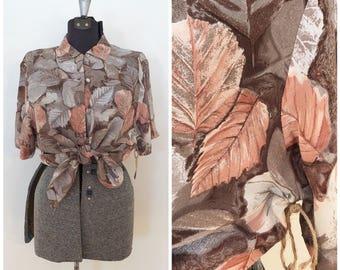 Vintage Silk Blouse / L/XL / Floral Blouse