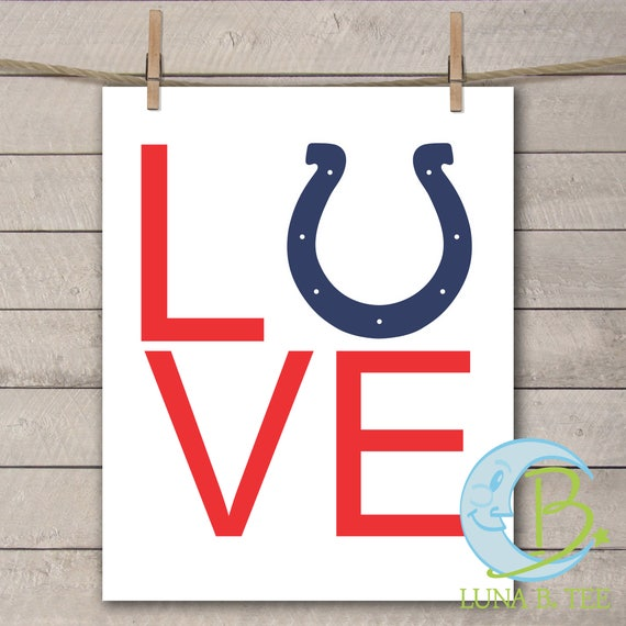 INSTANT DOWNLOAD Indianapolis Colts love Printable DIY Iron On to Tee T-Shirt Transfer Do It Yourself - Digital File