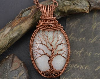 Family Tree Necklace Wired Copper Tree-Of-Life Necklace Pendant Wedding Rustic Necklace Jewerly Gift Wedding for Bride Gift for Bridesmaid