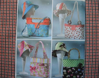 2000s sewing pattern Butterick 4532 Fashion Handbags totes and matching hats