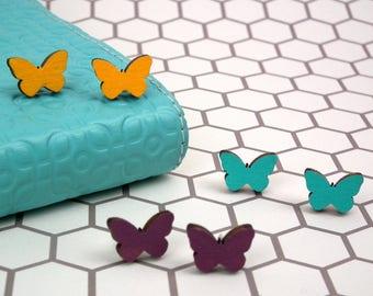 Butterfly Earrings - Wooden Earrings - Butterfly Jewelry - Butterfly Lovers Gift - Yellow Butterfly Earrings - Purple Butterfly Studs