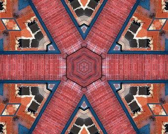 Brick Walkway Kaleidoscope, Photo Art, Digital Photography, Architecture, Wall Art