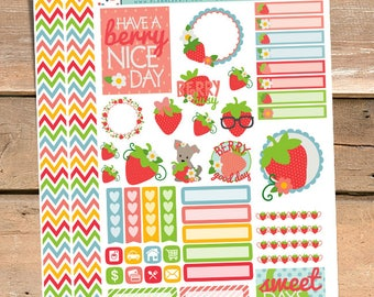 Strawberry Stickers Planner Printable - Cute Summer Strawberries Printable Stickers
