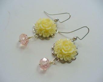 Ivory and Peach, Flower Dangle Earring, Peach Blush, Silver Earring, Womens Jewelry, Long Dangle Earring, Summer Earring, Gift for Her