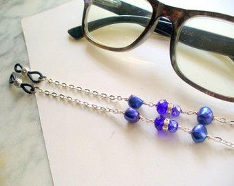Cobalt Blue Beaded Eyeglass Holder, Eye Glass Chain, Eyeglass Necklace Holder, Sunglass Chain, Lanyard, Eyewear, Blue Fresh Water Pearl