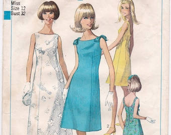 """1960s Simplicity 7085 Summer Sleeveless Dress with Shoulder Bows, Wedding or Prom Dress Vintage Sewing Pattern, Size 12, Bust 32"""", Part Cut"""