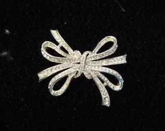 Kenneth Jay Lane, KJL, Large Ribbon Bow Brooch, Clear Rhinestones on Silver Tone Metal