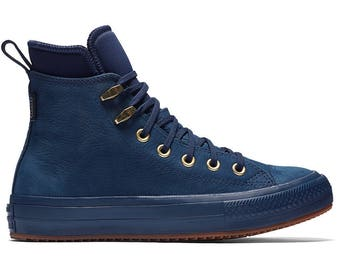 Leather Converse Navy Blue All Weather Waterproof High Top Boots w/ Swarovski Crystal Jewel Rhinestone Chuck Taylor All Star Ladies Shoes
