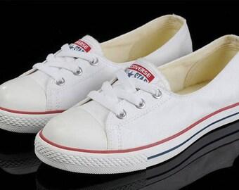 Custom White Blue Red Low Top Slip On Converse Ballet Lace Wedding Bridal w/ Swarovski Crystal Chuck Taylor Rhinestone All Star Trainer Shoe