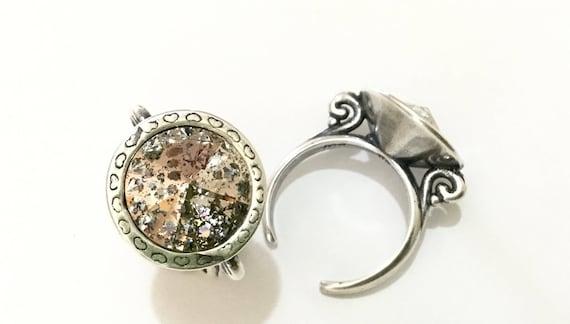 Antique Silver tone Finger Ring Pewter Adjustable Cocktail w/ Swarovski Rose Patina Crystal Rivoli 14mm Rhinestone gem Filigree Ladies Gift