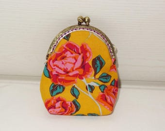 Yellow  retro frame coin purse for woman  with roses bohemian style