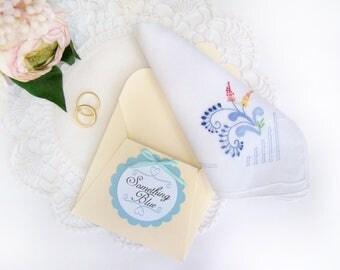 Wedding Handkerchief, Gift for Bride, Something Blue, Vintage Handkerchief, Bride's Hanky, Something Old, Bridal Shower Gift, Wedding Hanky