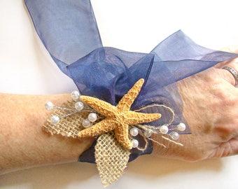 Starfish Corsage, Custom Color Beach Wedding Wrist Corsage, Ribbon Tie Wrist Corsage, Tropical Destination Wedding, Mother of Bride Groom