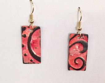 Copper etched and hand painted pink earrings with gold filled earwires