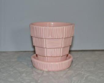 McCoy Pink Basket Weave Pot Planter
