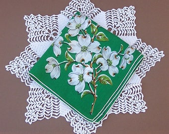 Vintage Floral Handkerchief, Flower Hanky, Dogwood Blossoms, Green Hanky