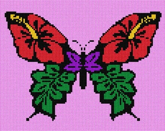 Needlepoint Kit or Canvas: Flowers In Butterfly